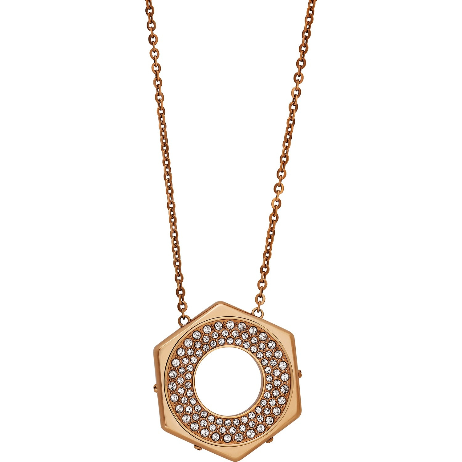Shop Swarovski Elements Bolt 5073124 Rose Gold Tone Crystal Pave Inside Most Up To Date Pavé Locket Element Necklaces (View 10 of 25)