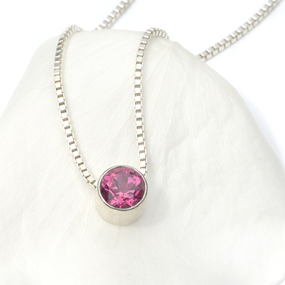 Signature Sterling Silver Pink Tourmaline Necklace (october Birthstone) Within Most Current Pink October Birthstone Locket Element (View 9 of 25)