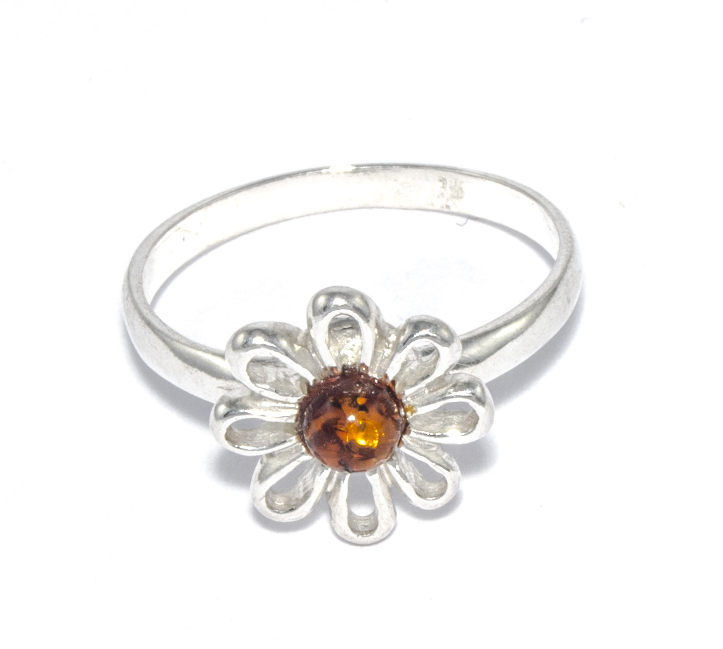 Silver Amber Single Daisy Flower Ring For Recent Daisy Flower Rings (View 11 of 25)