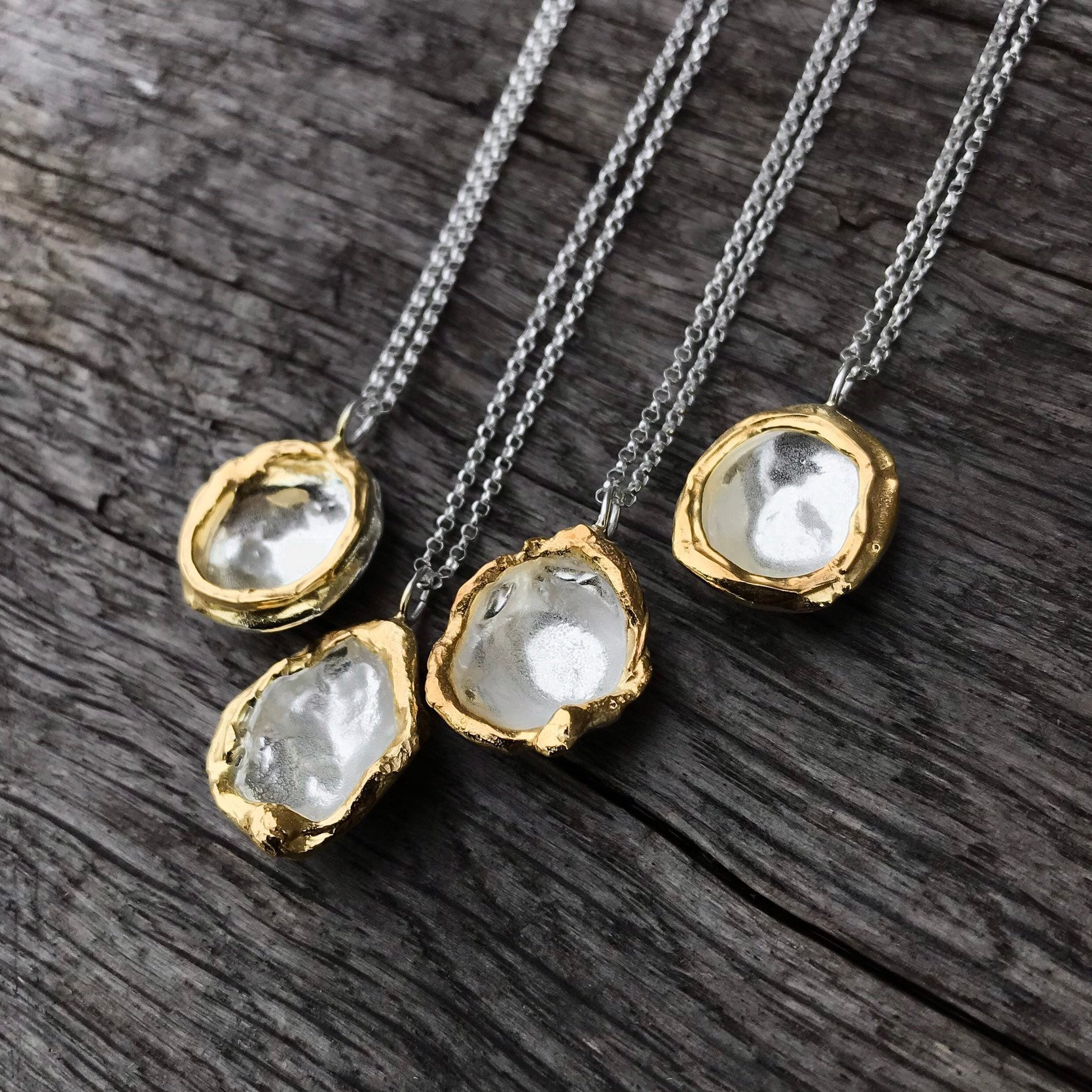 Silver And Gold Necklace, Gold Edged Sterling Silver Pendant Necklace, Recycled Silver And 24k Gold, Organic Water Droplet Necklace Within 2019 August Droplet Pendant Necklaces (View 18 of 25)