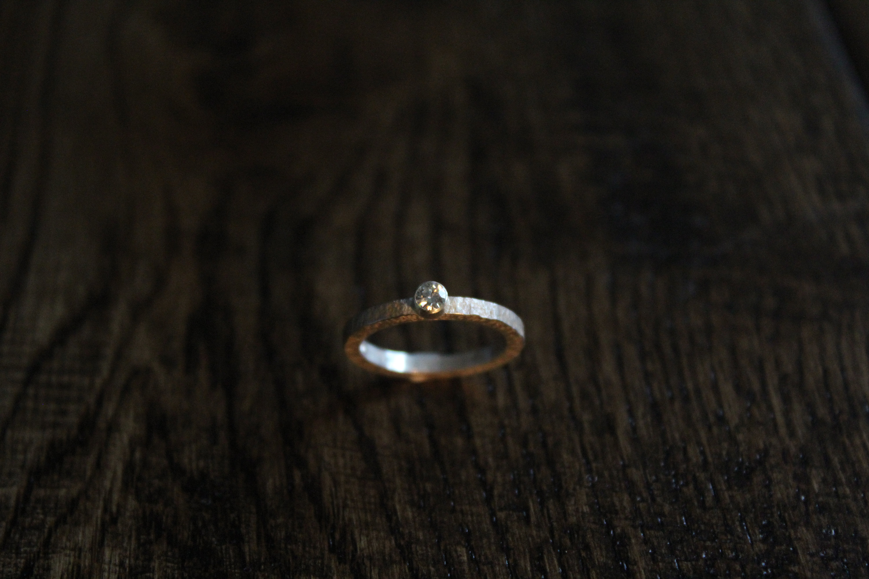 Silver And Moissanite Hammered Band Ring Intended For Most Recently Released Simple Sparkling Band Rings (Gallery 19 of 25)