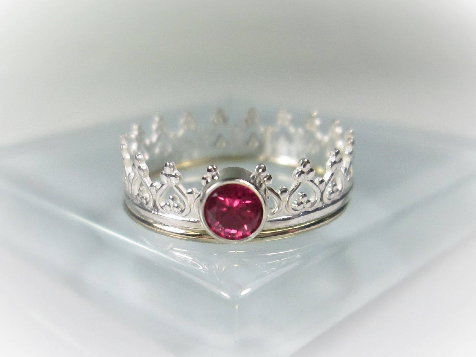 Silver Birthstone Crown Ring W/ Gold Edging Band, Choice Of 12 Birthstones  & Black Cz, 4Mm Gemstone Ring, Princess Ring, Queen Tiara Ring For Newest Pink Sparkling Crown Rings (View 19 of 25)