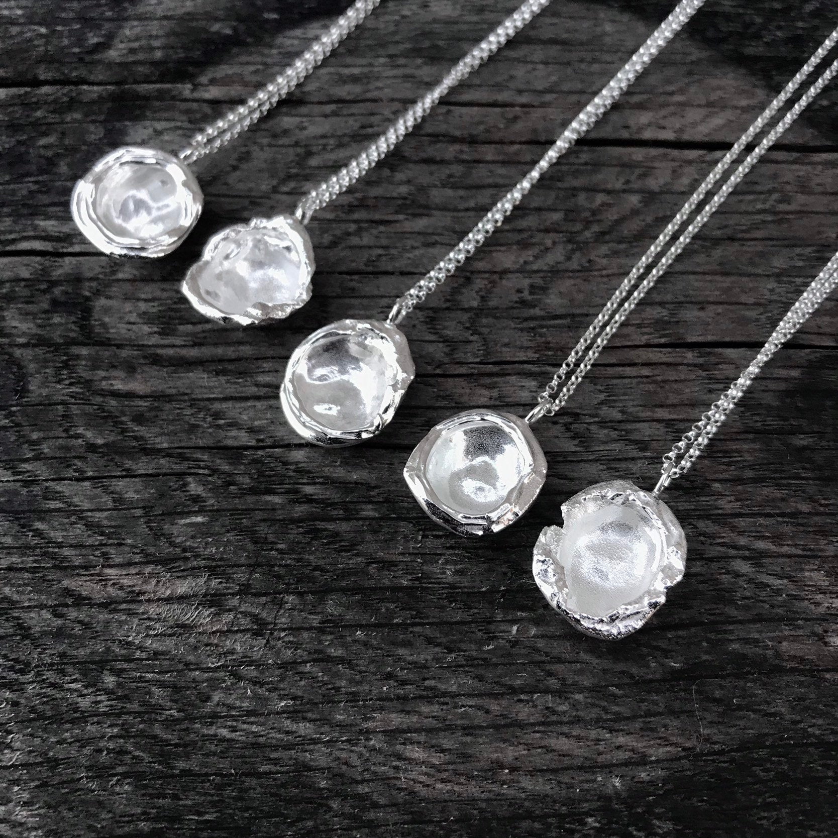 Silver Droplet Necklace, Sterling Silver Pendant Necklace, Recycled Silver, Organic Water Droplet Necklace, Teardrop Contemporary Necklace Pertaining To Recent August Droplet Pendant Necklaces (View 11 of 25)