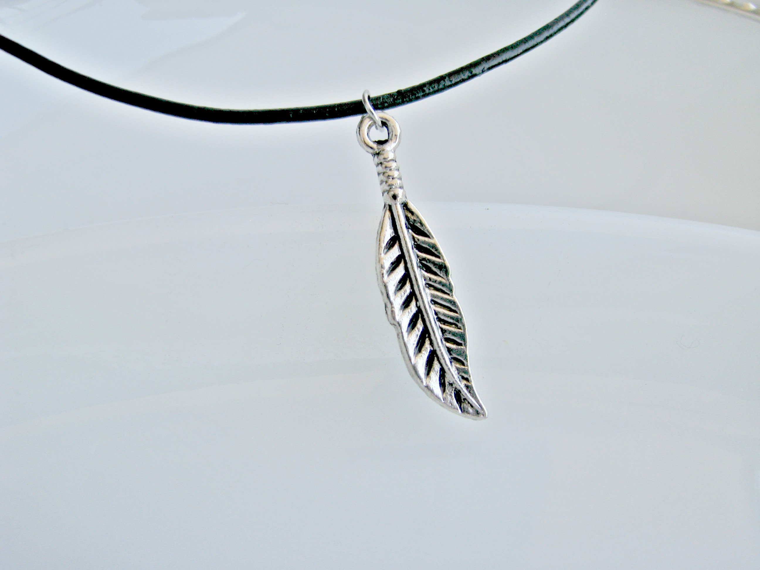 Silver Feather Necklace, Feather Charm, Black Leather Cord And Feather Charm, Adjustable Black Choker, Layered Necklace In Most Recent Black Leather Feather Choker Necklaces (View 12 of 25)