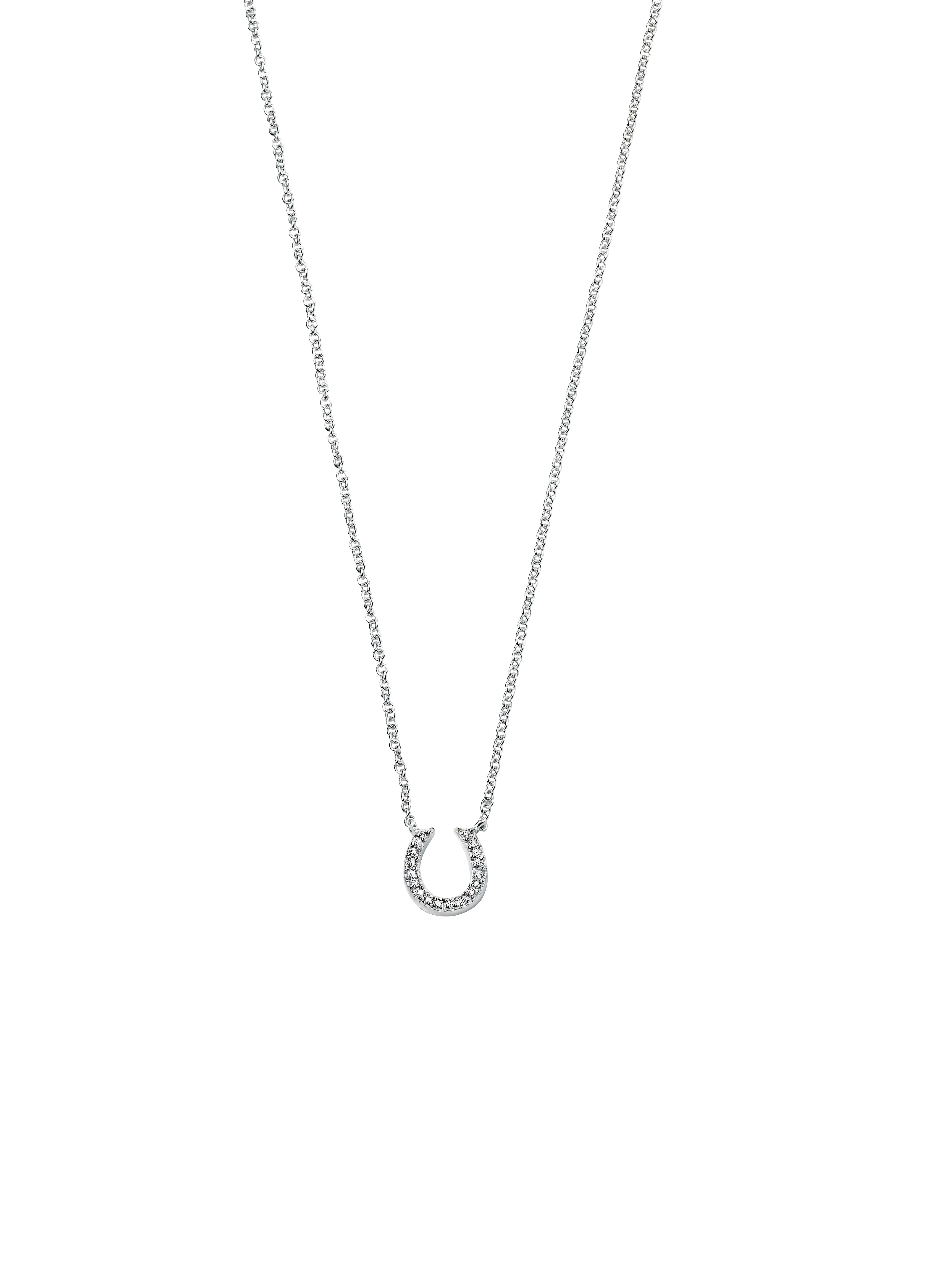Silver Horse Shoe Clear Pave Cz Necklace – Fab Fox Jewellery Intended For Newest Pavé Locket Element Necklaces (View 7 of 25)