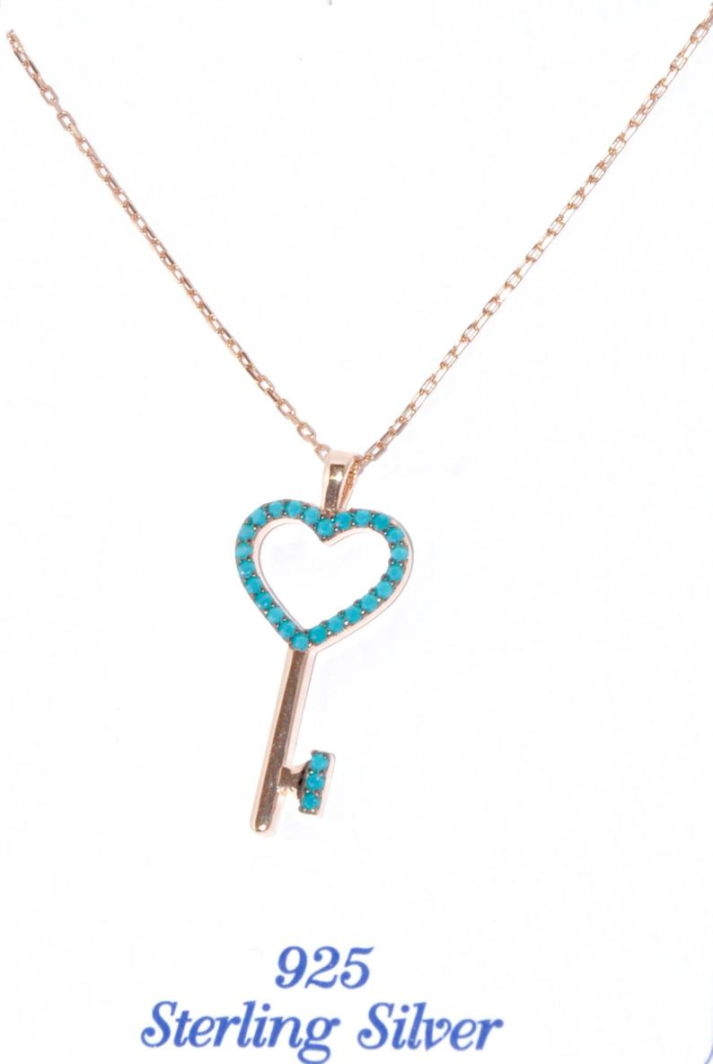 Silver Key Necklace, Key Pendant, Turquoise Key Necklace, Grandma Gift,  Turquoise Key Pendant, Necklace Key, Heart Jewelry,pandora, Cartier Within Latest Pandora Lockets Heart Key Necklaces (View 21 of 25)