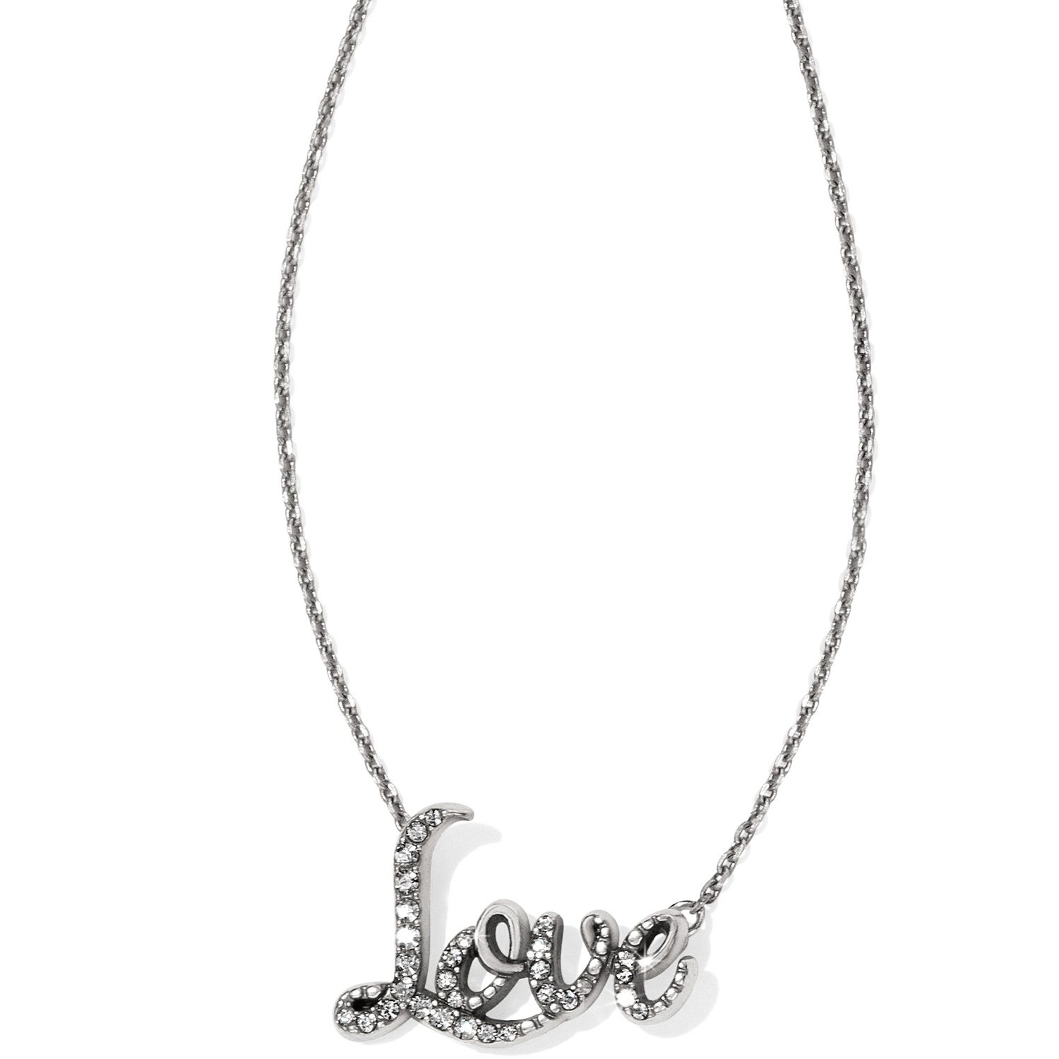 Silver Love Necklace | Brighton Collectibles For Most Popular Loved Script Necklaces (Gallery 25 of 25)