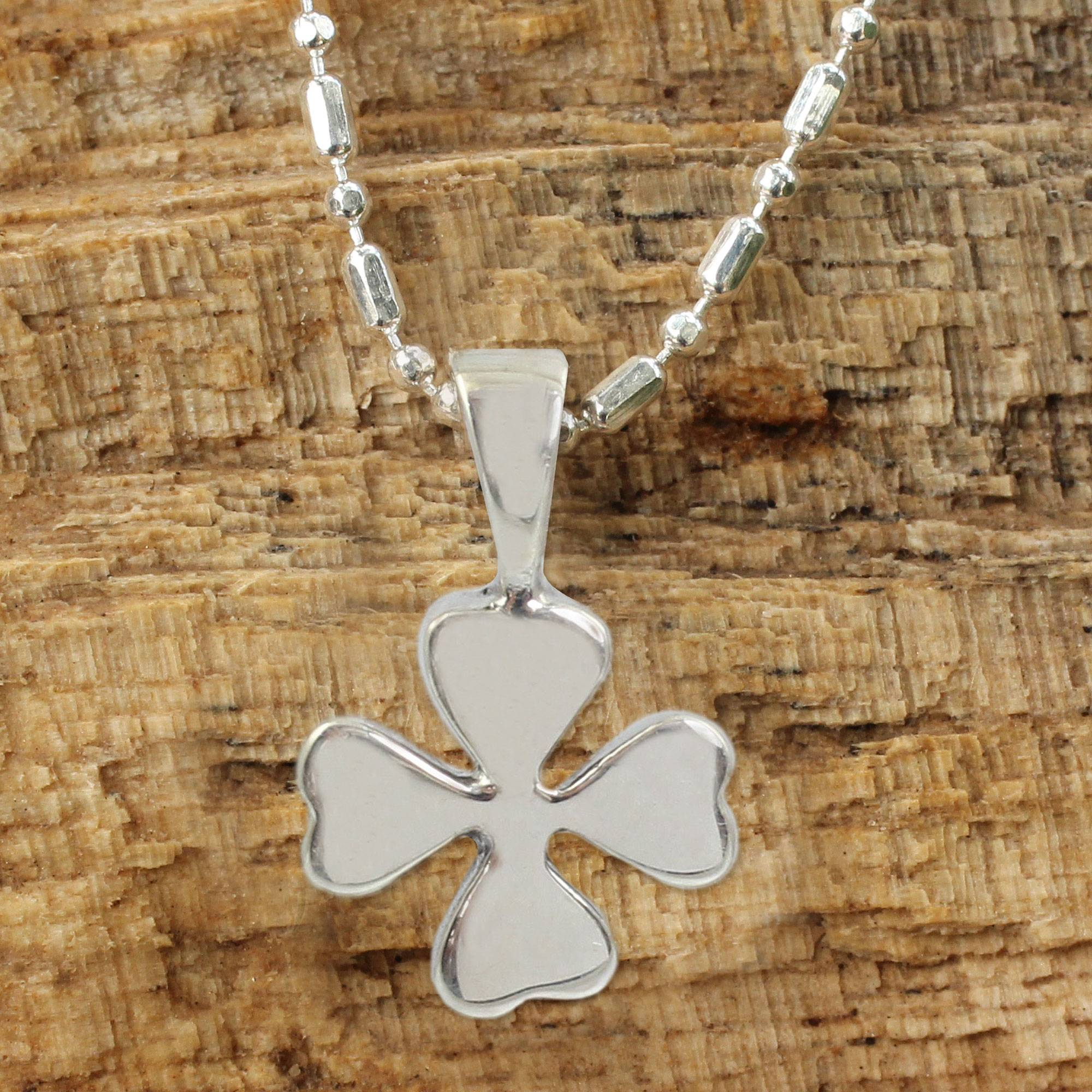 Silver Lucky 4 Leaf Clover Necklace, 'lucky Clover' Inside Most Current Lucky Four Leaf Clover Dangle Charm Necklaces (View 22 of 25)