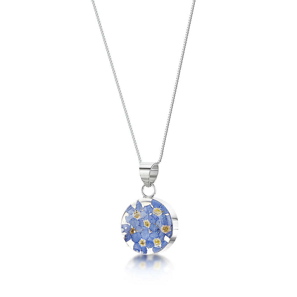 Silver Necklace – Forget Me Not – Med Round With Regard To 2020 Forget Me Not Necklaces (Gallery 25 of 25)