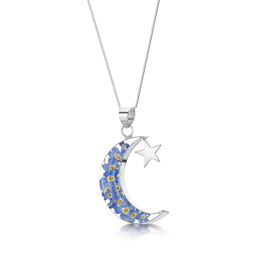 Silver Necklace | Forget Me Not | Moon & Star Intended For Most Recent Forget Me Not Necklaces (Gallery 10 of 25)