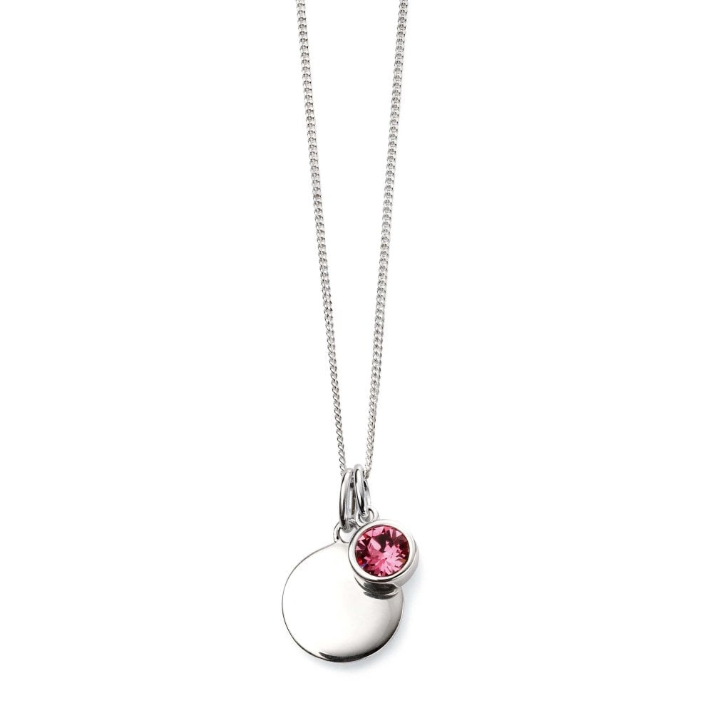 Silver October Birthstone Swarovski Pendant & Chain Intended For 2020 Pink October Birthstone Locket Element (View 3 of 25)