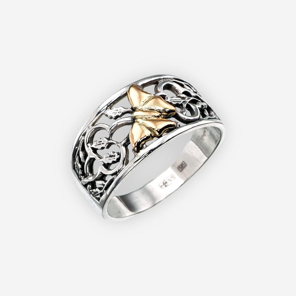 Silver Openwork Ring With 14k Gold Butterfly Inside Current Openwork Butterfly Rings (View 5 of 25)