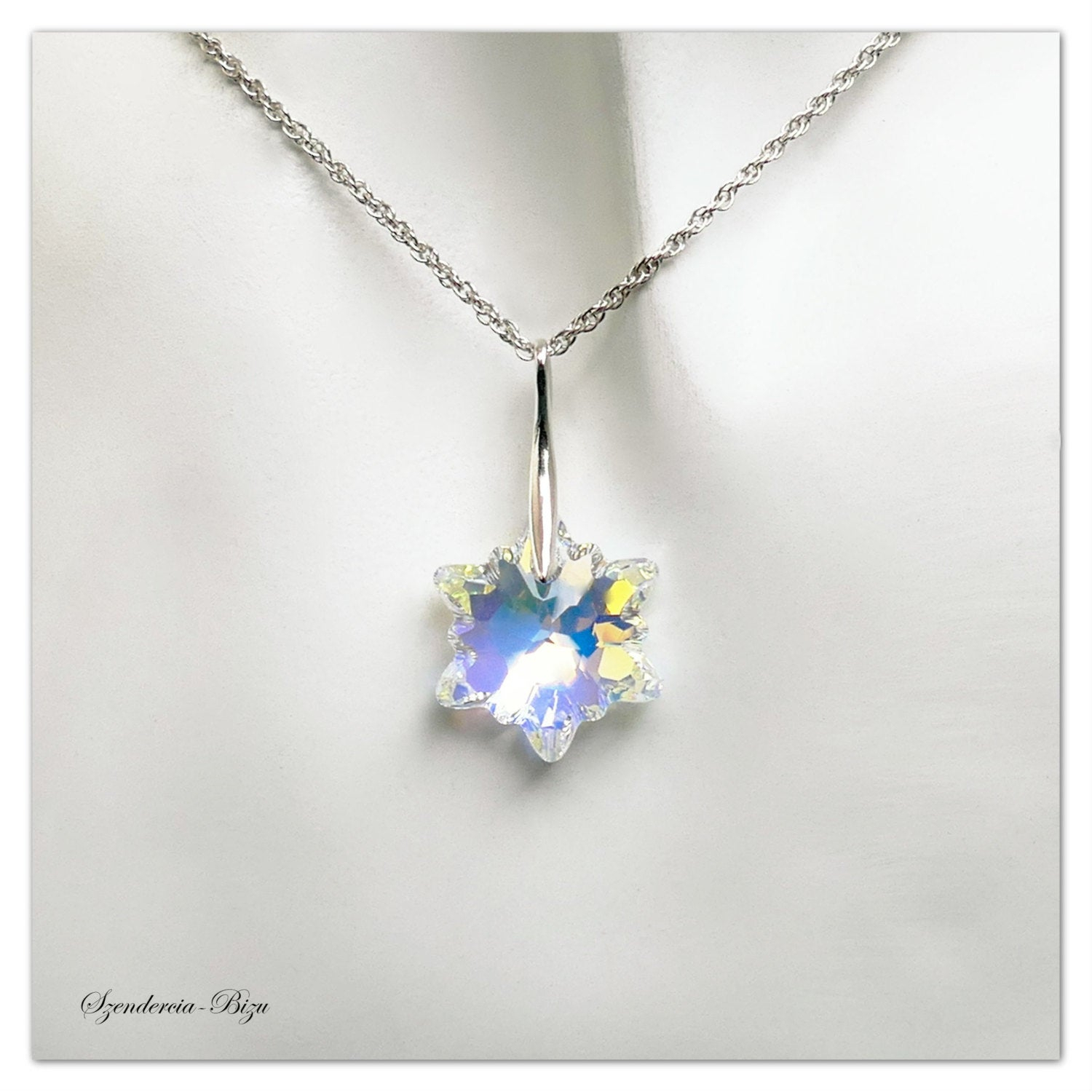Silver Pendant Swarovski Edelweiss Aurore Boreale Necklace Snowflake  Pendant Flower Jewelry Multicolor Pendant Bridesmaids Gift For Her With Regard To Most Recently Released Shimmering Snowflake Locket Element Necklaces (Gallery 13 of 25)