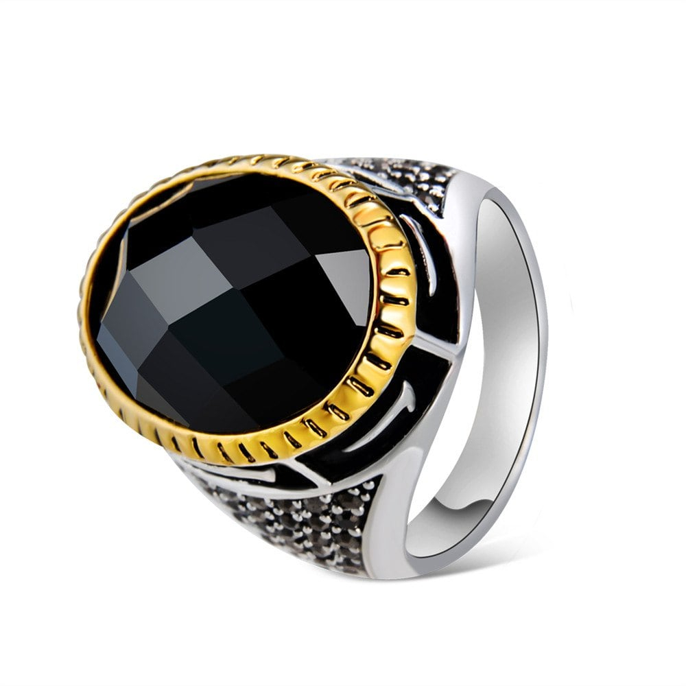 Silver Plated Egg Shaped Multifaceted Black Crystal Ring Pertaining To Recent Multifaceted Rings (Gallery 25 of 25)