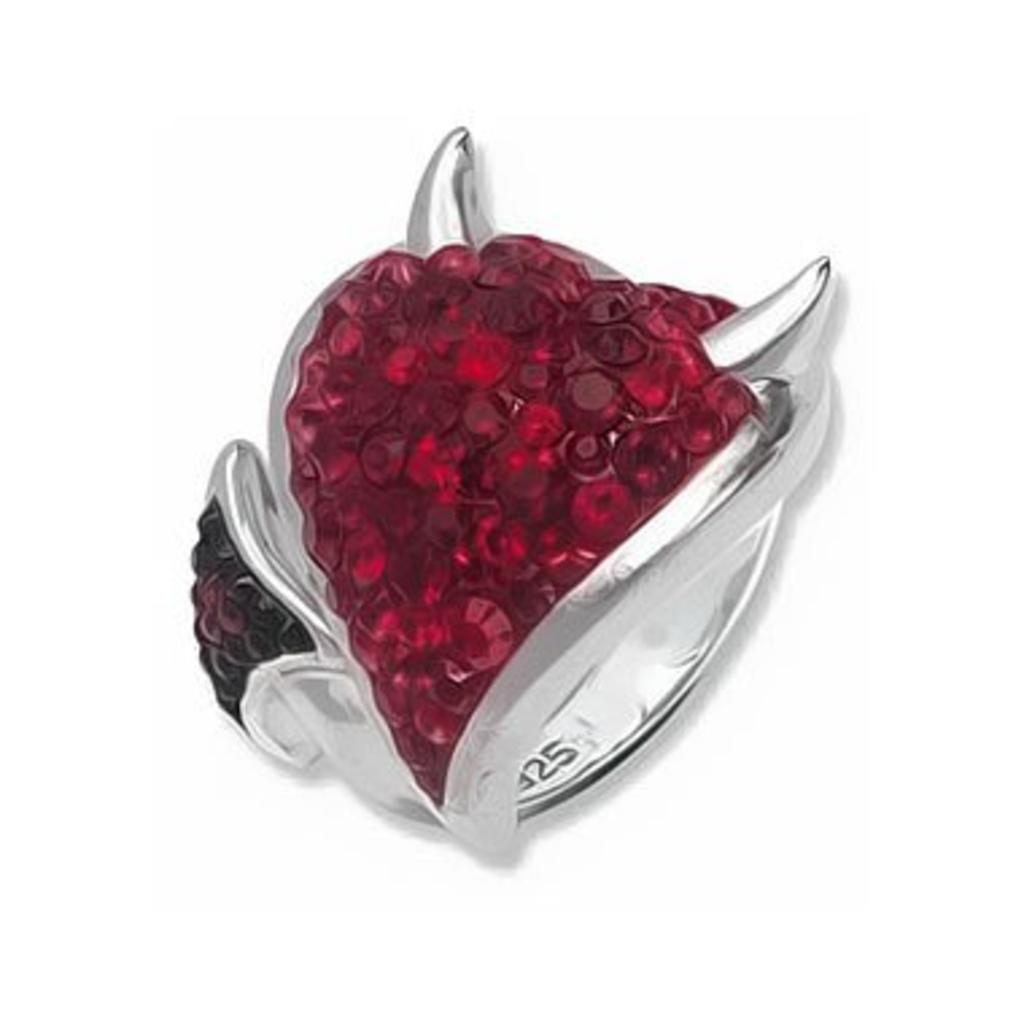 Silver Ring Swarovski Devilish Heart Inlaid Intended For 2018 Sparkling Red Heart Rings (View 19 of 25)