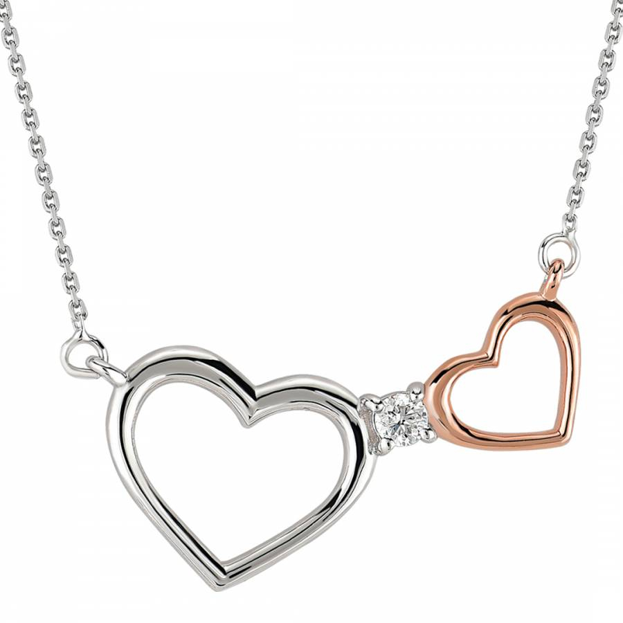 Silver/rose Gold Interlocking Heart White Gold/diamond Pendant Necklace Inside Most Current Interlocked Hearts Locket Element Necklaces (View 4 of 25)