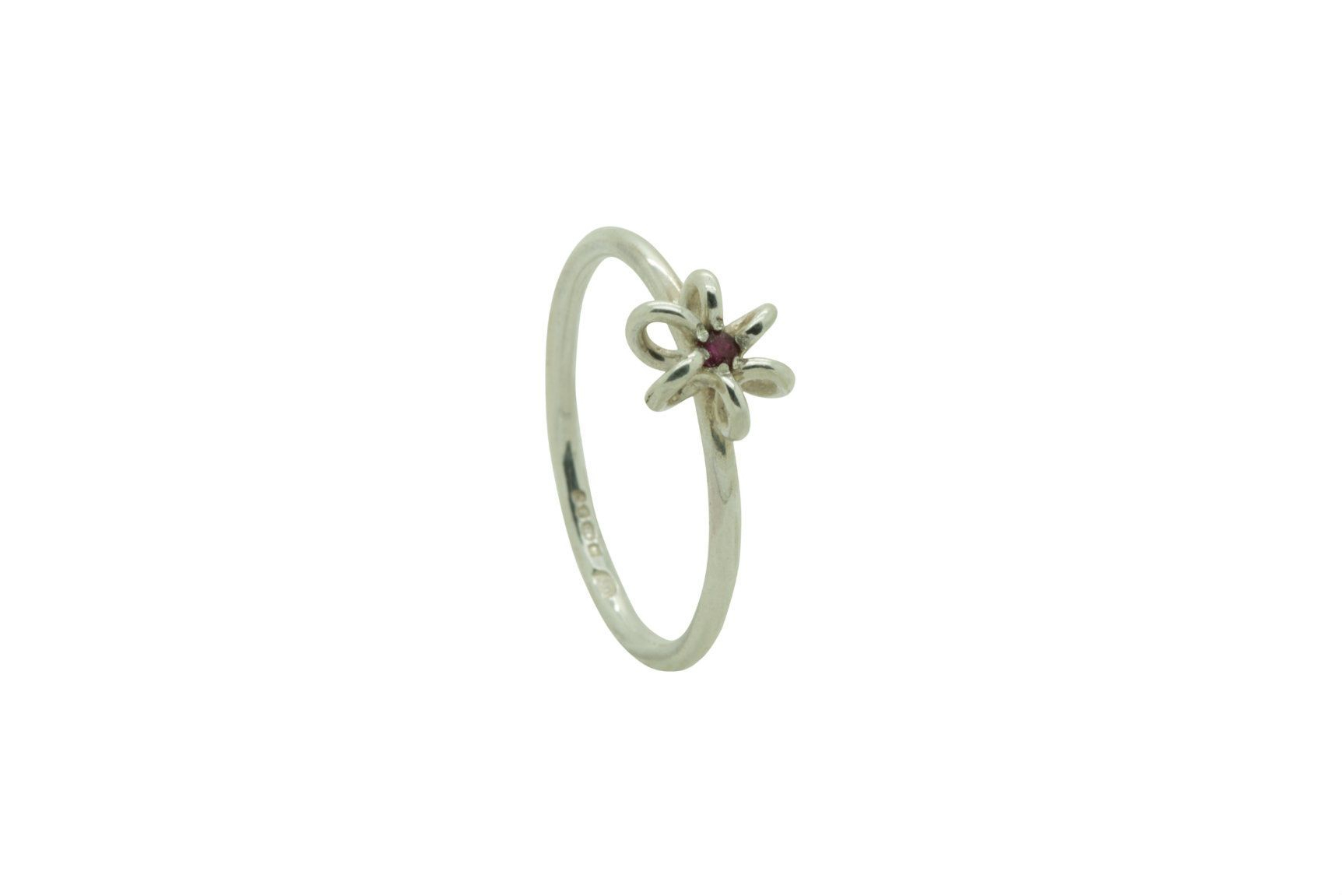 Silver Ruby Flower Ring With Regard To Most Recent Sparkling Daisy Flower Rings (Gallery 7 of 25)