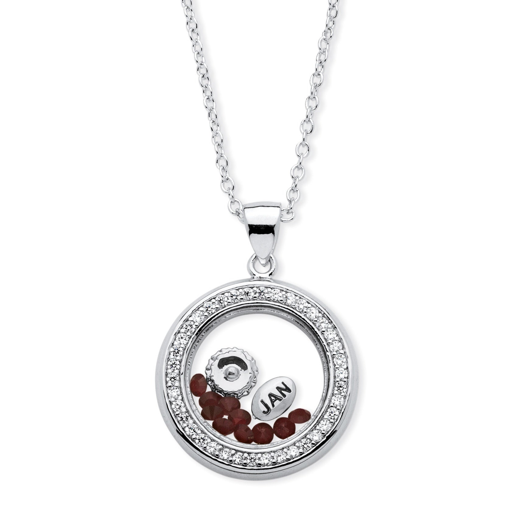 Silver Tone Charm Pendant (22Mm) Round Cubic Zirconia And Round Simulated  And Blue Made With Swarovski Elements Within Most Recently Released Red July Birthstone Locket Element Necklaces (View 21 of 25)