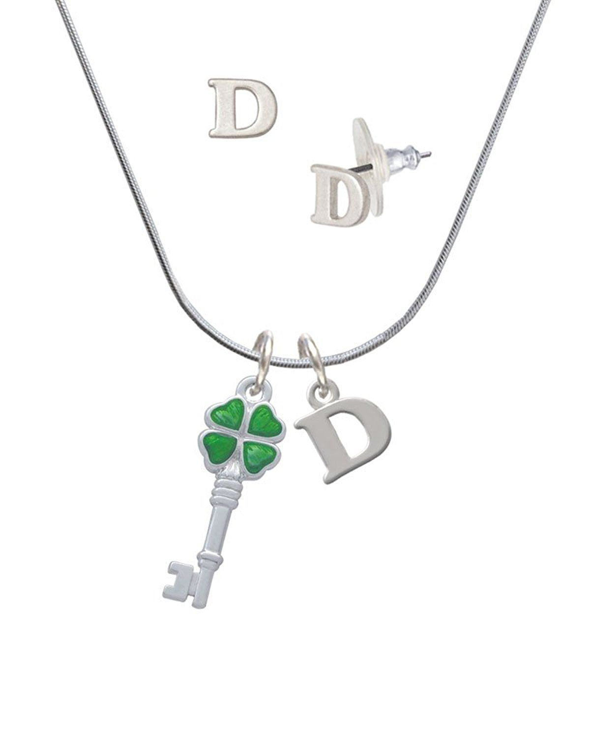 Silvertone Green Lucky Four Leaf Clover Key – D Initial Charm With Regard To Current Lucky Four Leaf Clover Y Necklaces (Gallery 23 of 25)