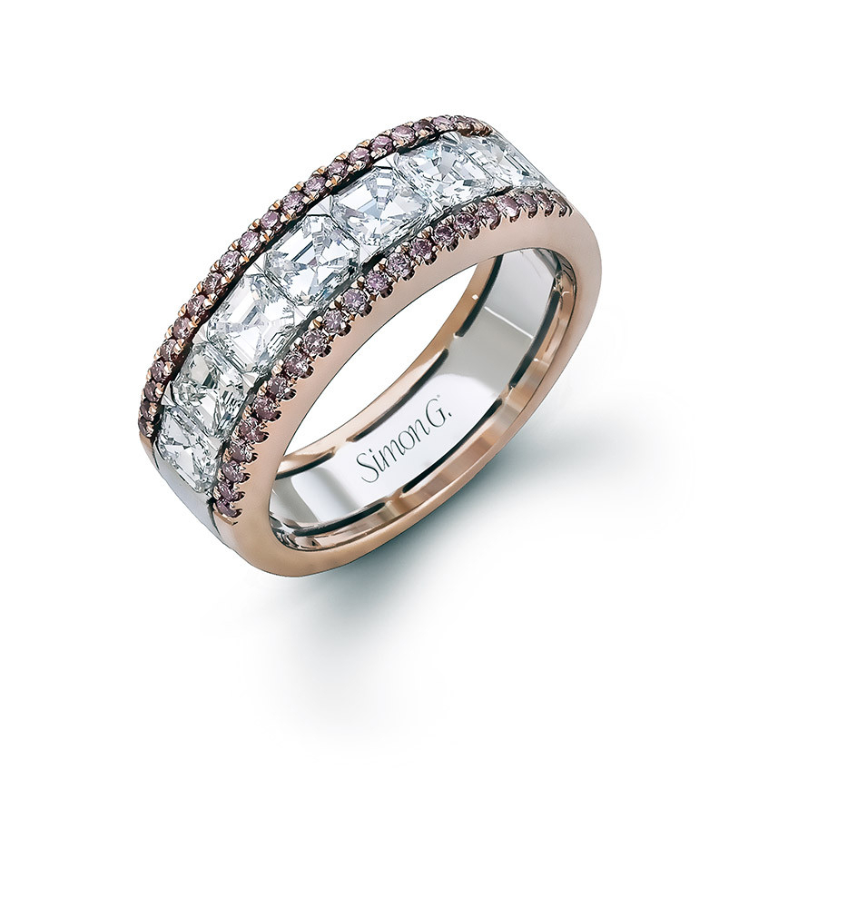 Simon G Platinum And 18K Rose Gold 1.94Ctw Diamond Within Most Recent Diamond Anniversary Bands In Rose Gold (Gallery 25 of 25)