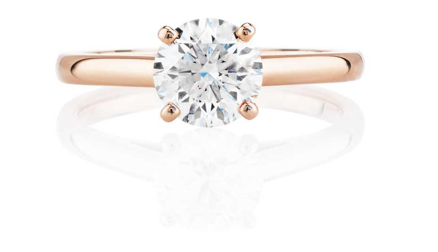 Simple And Elegant, This De Beers Rose Gold Engagement Ring With Most Up To Date Elegant Sparkle Rings (View 18 of 25)