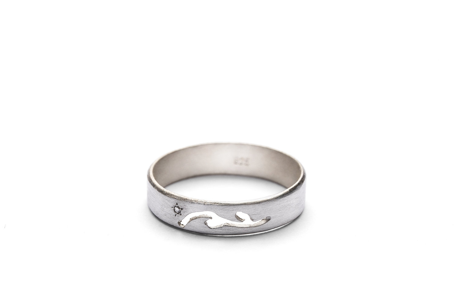 Simple And Unique Tiny Diamond Band | Beautiful 925 Sterling Silver Wedding Ring For Women | Nature Inspired Silver Promise Band For Most Popular Simple Sparkling Band Rings (View 8 of 25)