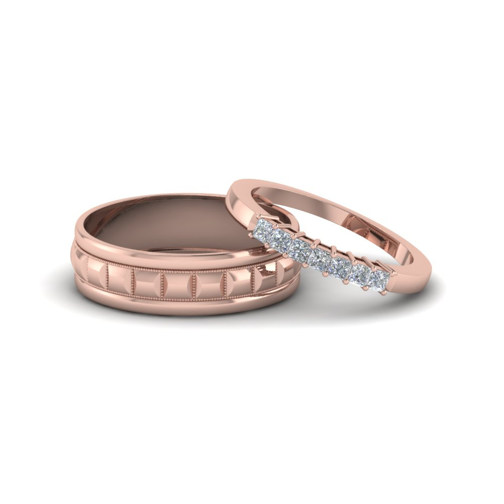 Simple Diamond Matching Weddings Anniversary Ring For Couples In 14K Rose  Gold Inside Best And Newest Simple Sparkling Band Rings (Gallery 21 of 25)