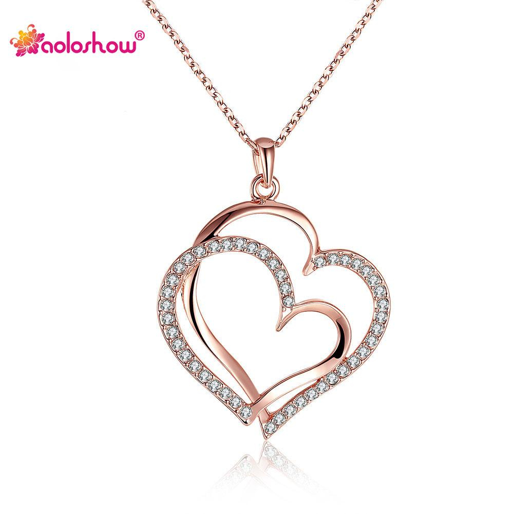 Simple Guardian Of Love Gold Color Stellux Austrian Crystal Heart Necklace For Women Copper With Gold Color Wedding Jewelry Necklace Ad022 Within Most Up To Date Ice Crystal Heart Collier Necklaces (View 6 of 25)