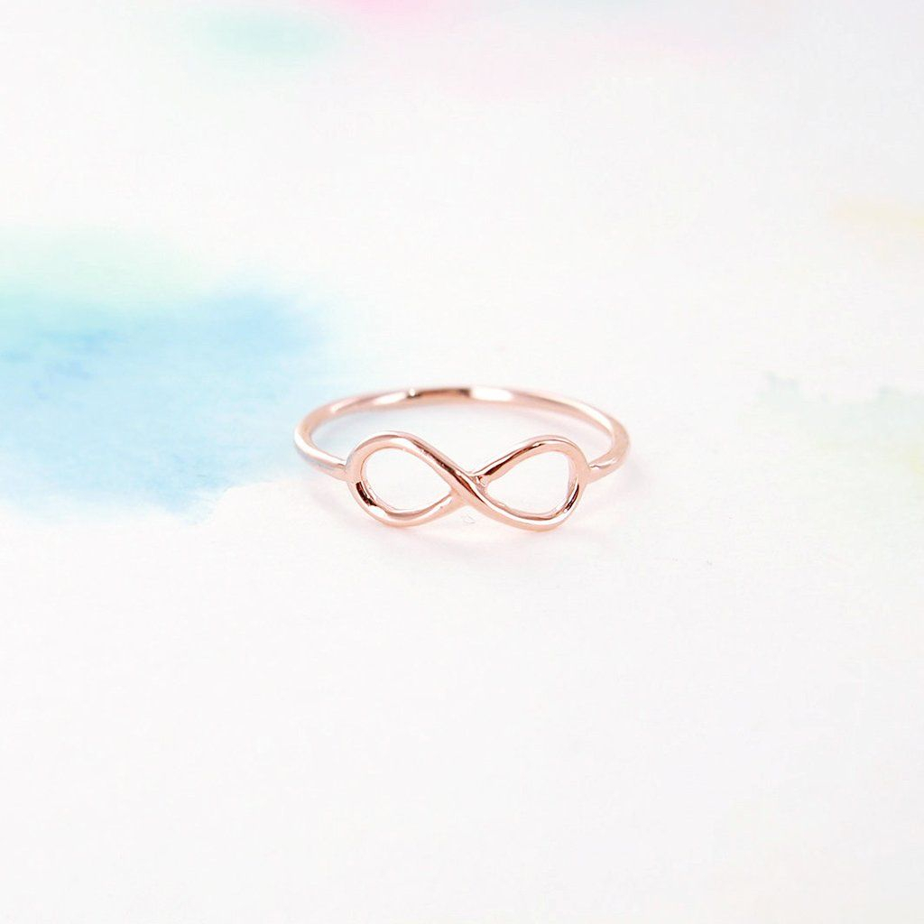 Simple Tiny Pink Rose Gold Infinity Band Ring | Rings | Rose Gold In Recent Simple Infinity Band Rings (Gallery 4 of 25)