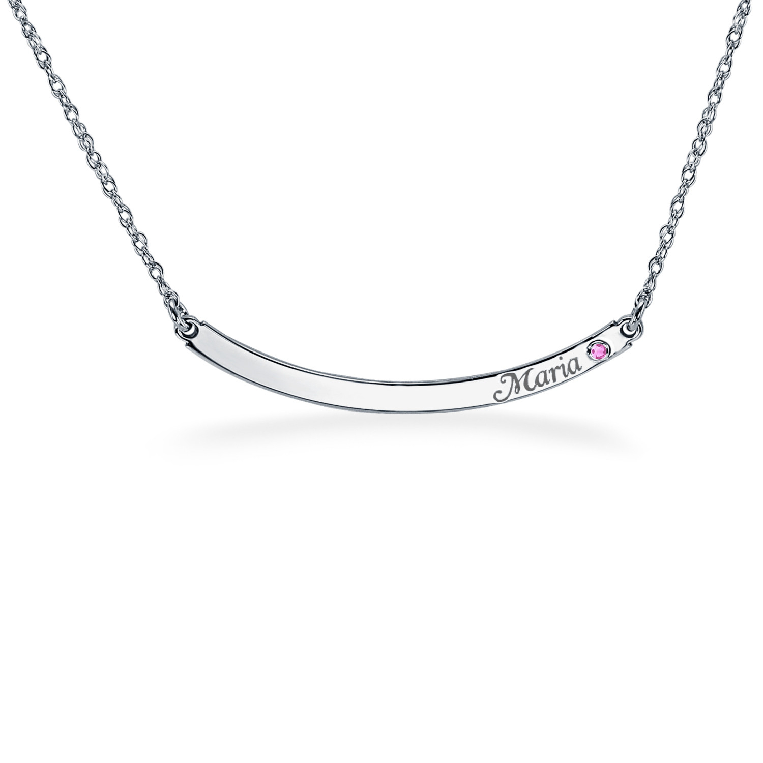Simulated Birthstone Engravable Curved Bar Name Necklace (1 Stone And Line)|Zales With Regard To Most Recently Released Sparkling Curved Bar Necklaces (Gallery 24 of 25)