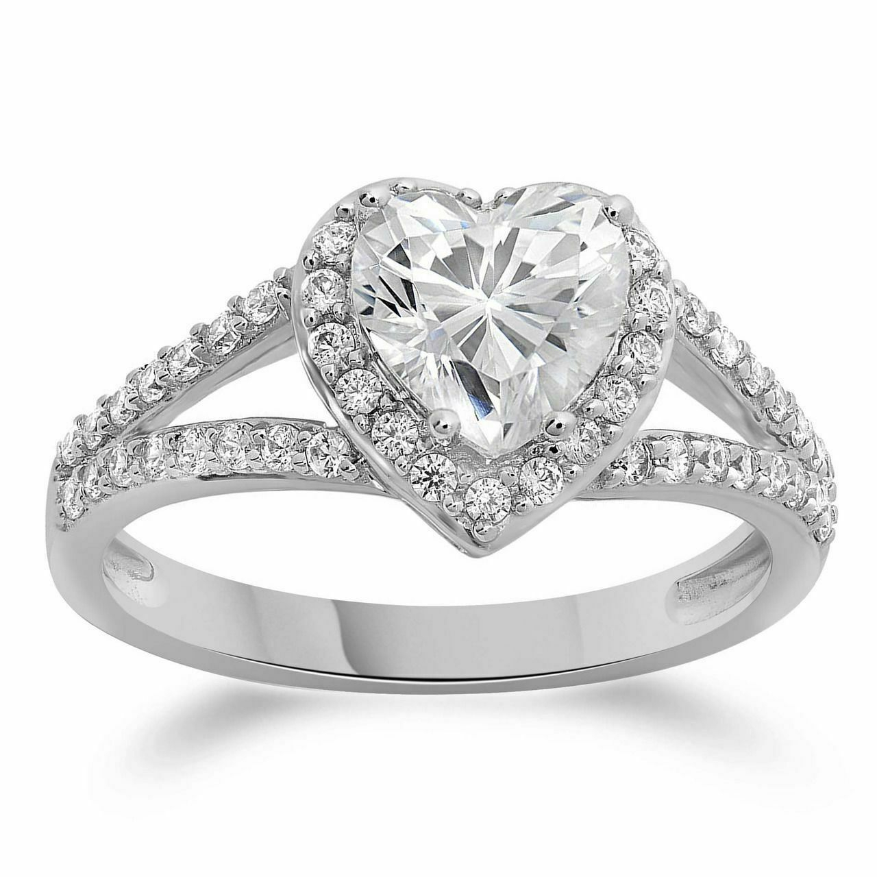 Simulated Heart Diamond Wedding Gold White 14K Ring Halo In Most Current Diamond Three Row Collar Anniversary Bands In White Gold (Gallery 20 of 25)