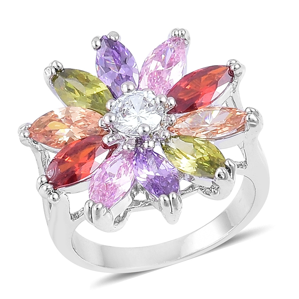 Simulated Multi Color Diamond Silvertone Daisy Flower Ring (Size 8.0) Tgw  5.00 Cts. Intended For Most Recent Sparkling Daisy Flower Rings (Gallery 20 of 25)