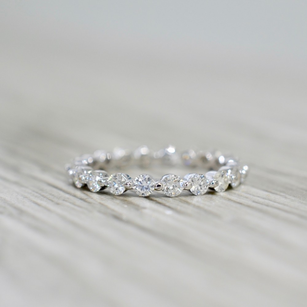 Single Prong Diamond Eternity Band 1.00 Cttw In White In Most Popular Diamond Eternity Anniversary Bands In White Gold (Gallery 19 of 25)