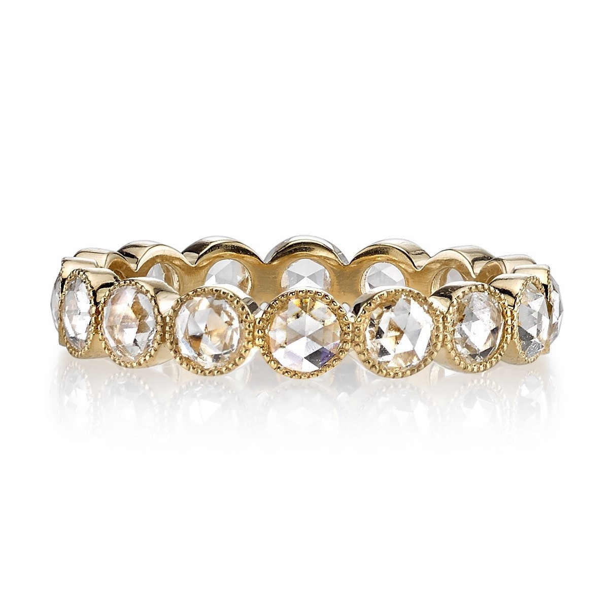 """Single Stone Gabby Medium Rose Cut Diamond Ring In Yellow Gold In 2020 Diamond Seven Stone """"x"""" Anniversary Bands In Sterling Silver And Rose Gold (Gallery 19 of 25)"""