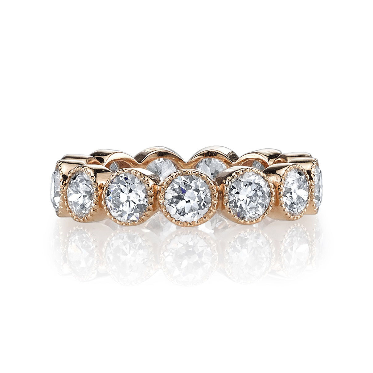 """Single Stone Large Gabby Diamond Eternity Band In Rose Gold Regarding Current Diamond Seven Stone """"x"""" Anniversary Bands In Sterling Silver And Rose Gold (View 20 of 25)"""