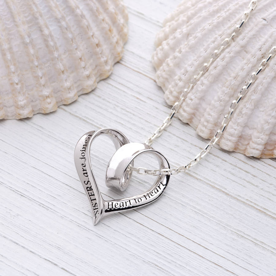 Sisters Heart Message Necklace, In Sterling Silver For Most Up To Date Joined Hearts Chain Necklaces (Gallery 14 of 25)