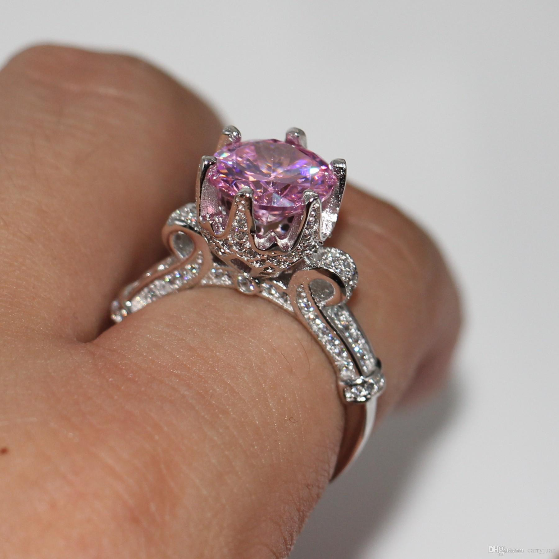 Size 5 10 Sparkling Luxury Jewelry 925 Sterling Silver Round Cut Pink  Sapphire Cz Diamond Gemstones Party Women Wedding Crown Band Ring Gift With Most Popular Pink Sparkling Crown Rings (View 21 of 25)