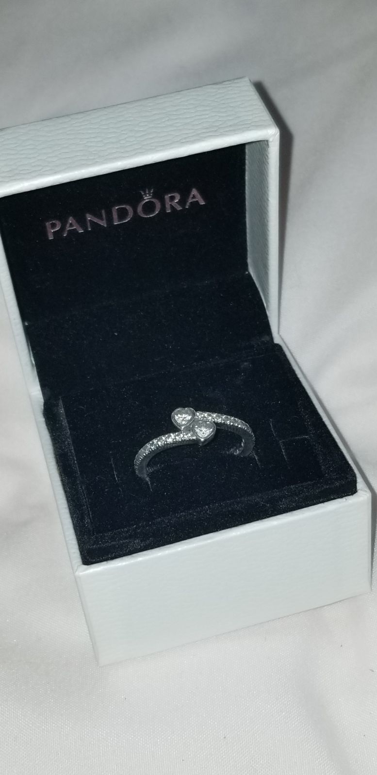 Size 54 (7) Trademarked Sterling Silver Pandora Ring With Box. Style Within Current Two Sparkling Hearts Rings (Gallery 11 of 25)