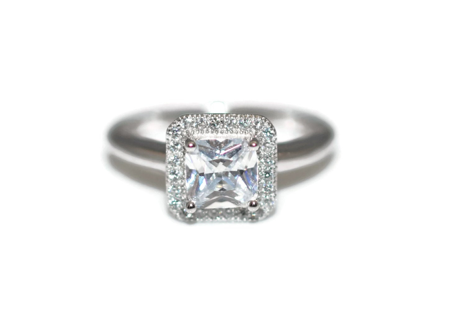 Size 6 Halo Sterling Silver Clear Cz Ring Size 6 Rhodium Plated – Sterling Silver Clear Square Halo Cubic Zirconia Ring Rhodium Plated Pertaining To Most Recent Sparkling Square Halo Rings (Gallery 20 of 25)