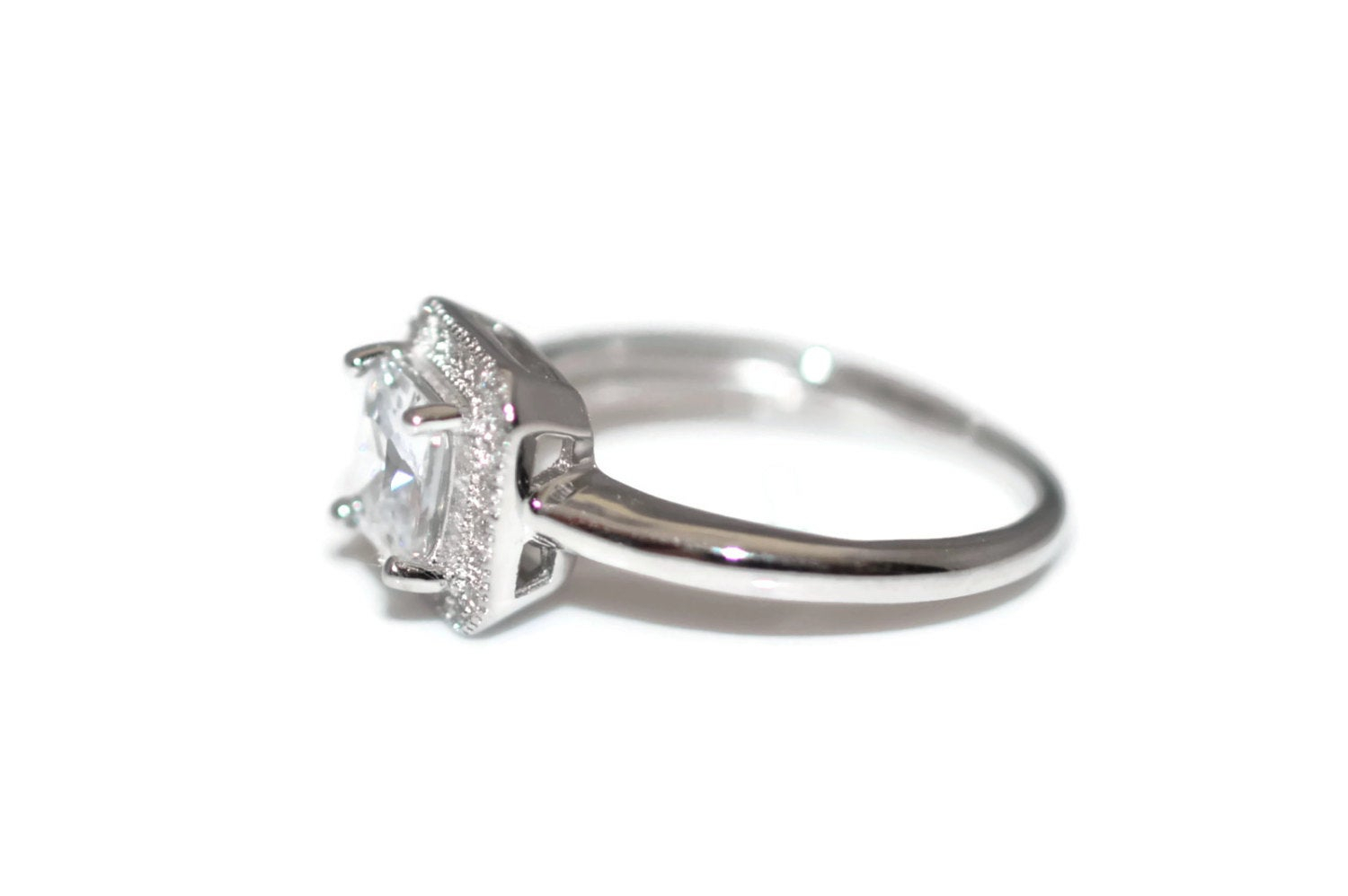 Size 7 Halo Sterling Silver Clear Cz Ring Size 7 Rhodium Plated – Sterling  Silver Clear Square Halo Cubic Zirconia Ring Rhodium Plated Intended For Most Current Sparkling Square Halo Rings (View 19 of 25)