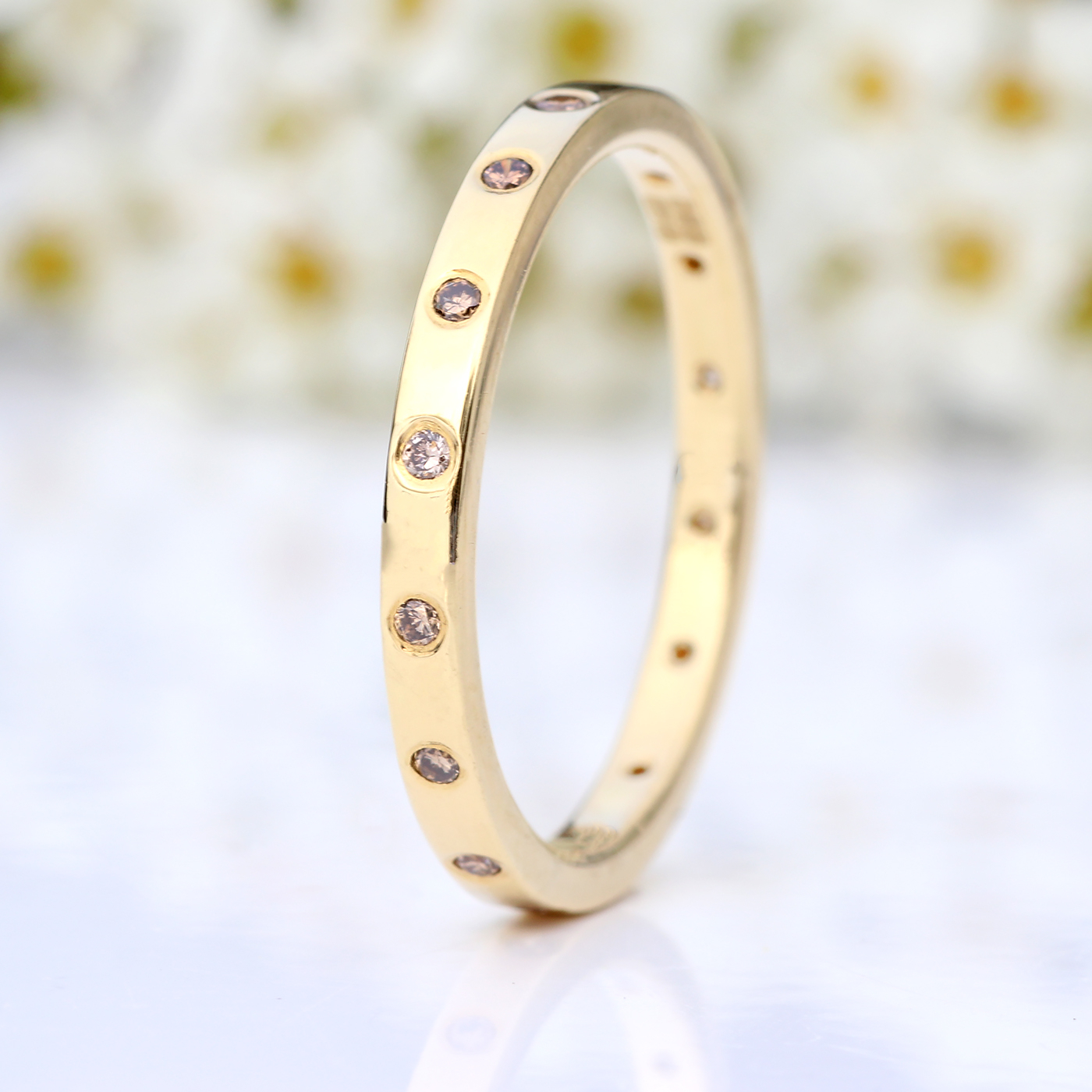 Slim Champagne Diamond Eternity Ring With Regard To Most Current Champagne And White Diamond Edge Anniversary Bands In Rose Gold (View 15 of 25)