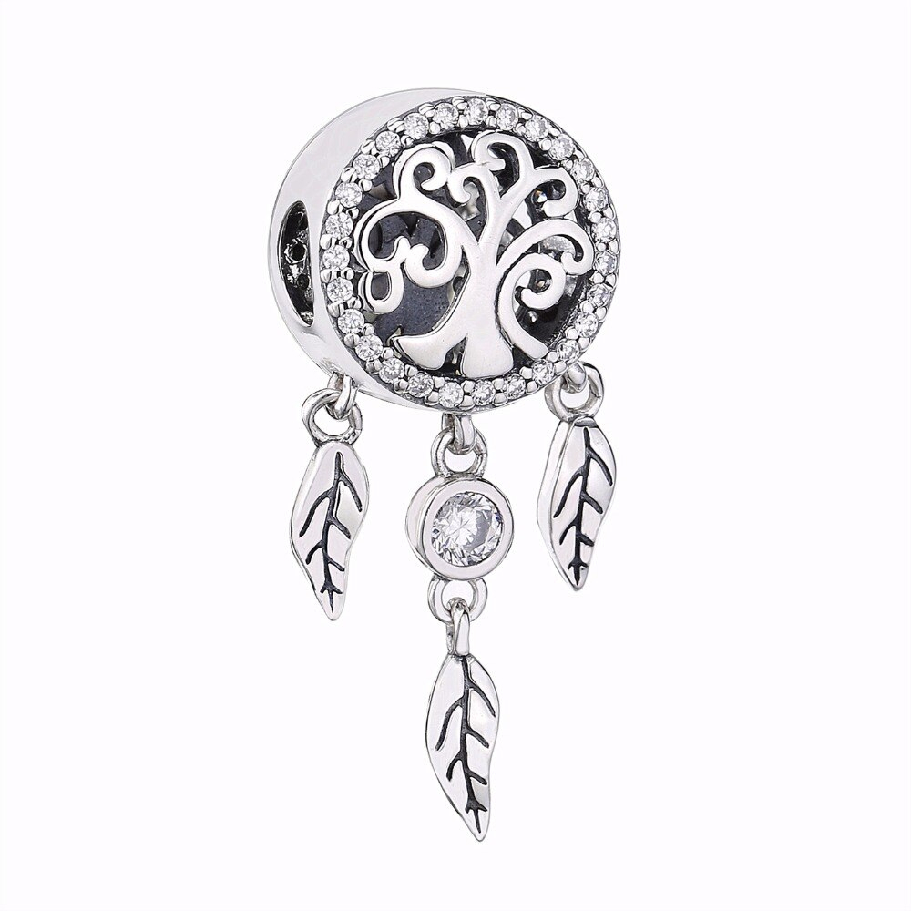 Slovecabin Genuine 925 Sterling Silver Dream Catcher Dangle Charm For  Necklace Holder Family Tree Charms For Diy Jewelry Marking In Charms From In Most Up To Date Dangling Family Tree Rings (Gallery 6 of 25)