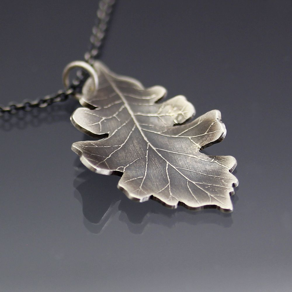 Small Bur Oak Leaf Necklace In 2019 | Full Time Etsy Crafters Inside Current Oak Leaf Necklaces (View 19 of 25)