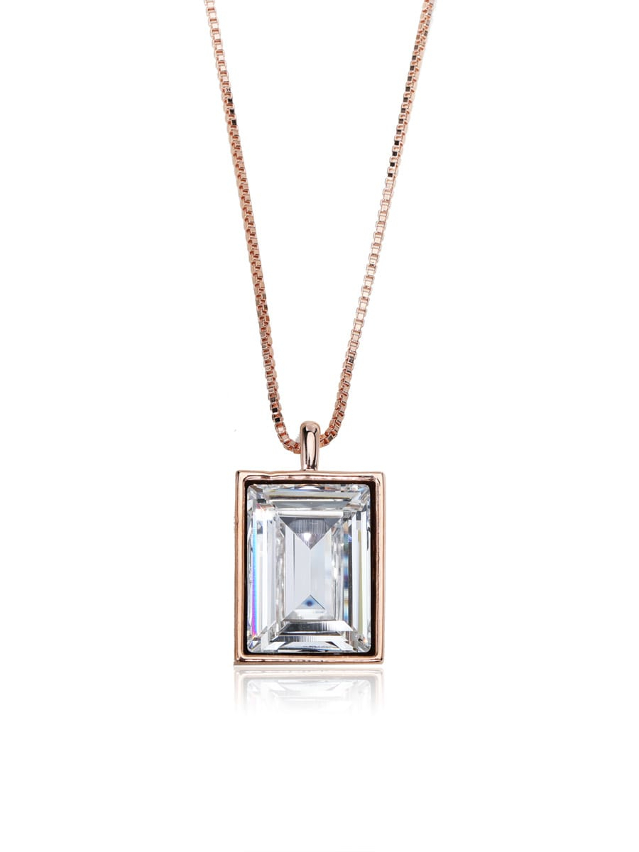 Small Square Crystal Classic Swarovski Element Crystal Necklace With 2020 Classic Flower Locket Element Necklaces (View 9 of 25)