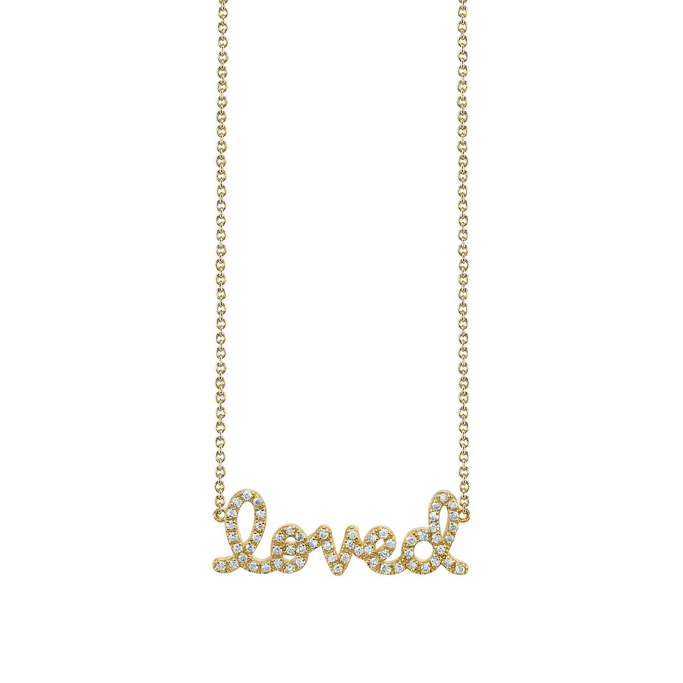 Small Yellow Gold & Diamond Loved Necklace In Best And Newest Loved Script Necklaces (Gallery 5 of 25)