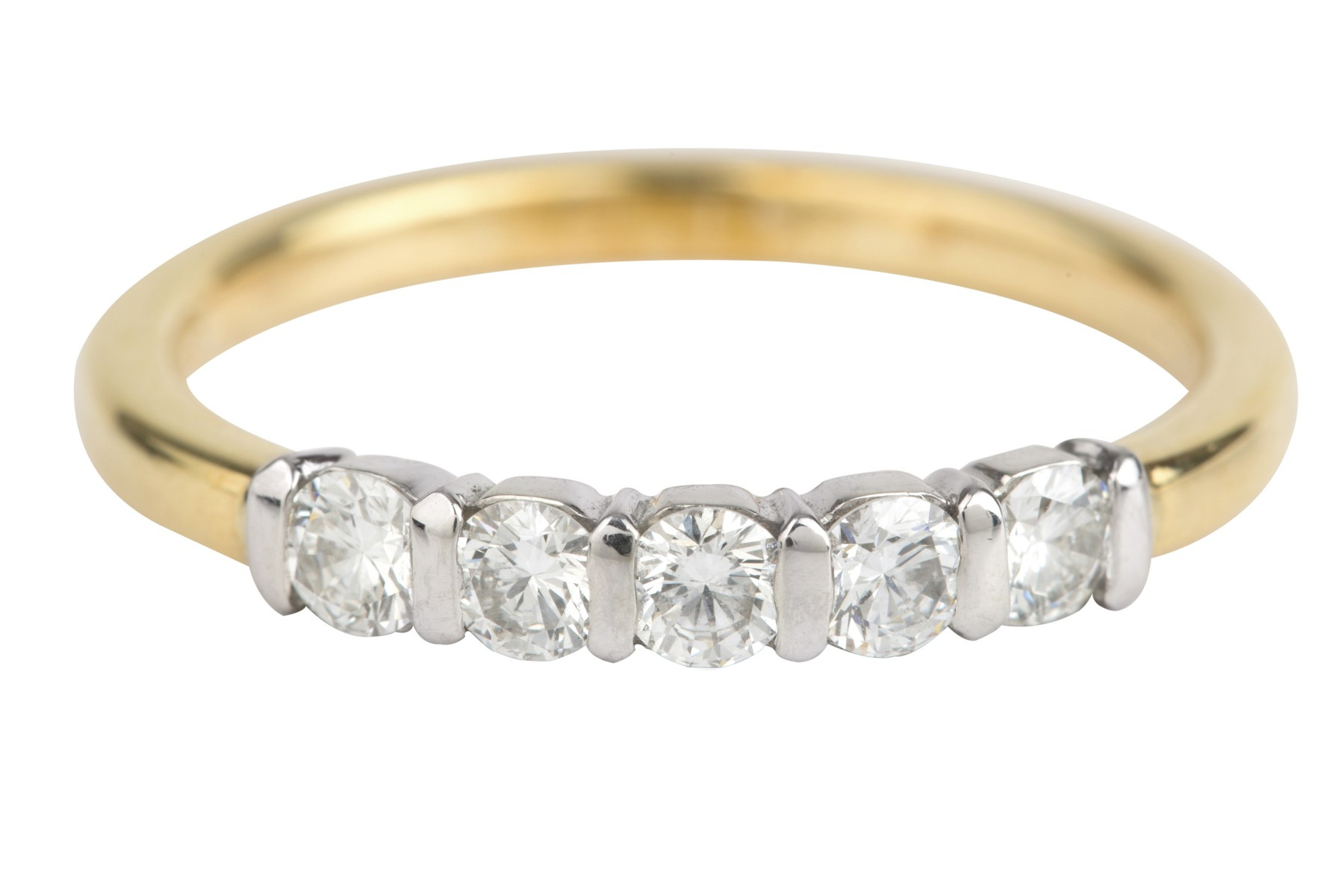 Sn4530 Diamond Half Eternity Five Stone Ring In 18Ct White & Yellow Gold  (0.40Ct) In Newest Diamond Five Stone Bar Set Anniversary Bands In White Gold (Gallery 3 of 25)