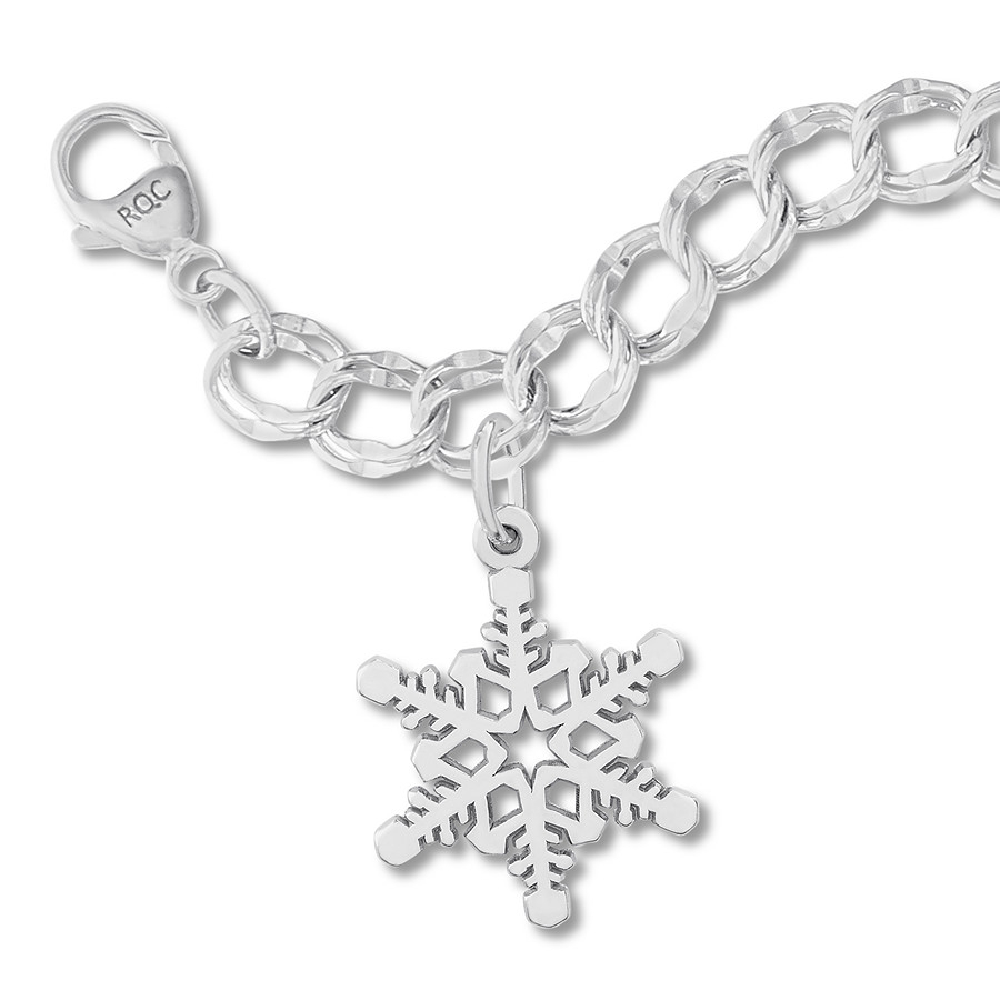"Snowflake Charm Bracelet Sterling Silver 7"" Length Within Most Recent Shimmering Snowflake Locket Element Necklaces (View 21 of 25)"