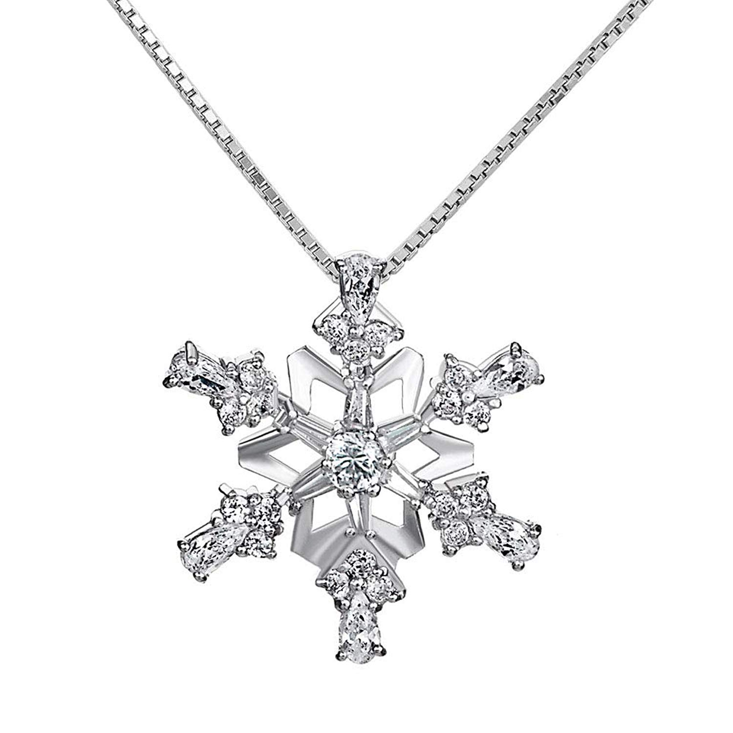 Snowflake Cz 925 Sterling Silver Pendant Necklace Winter Mom With Most Popular Heart Of Winter Necklaces (View 19 of 25)