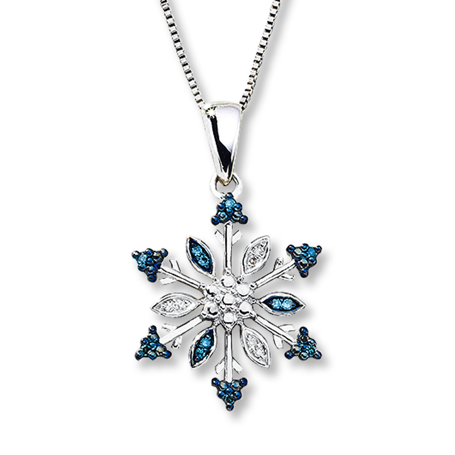 Snowflake Necklace Blue & White Diamonds Sterling Silver In 2020 Shimmering Snowflake Locket Element Necklaces (Gallery 7 of 25)