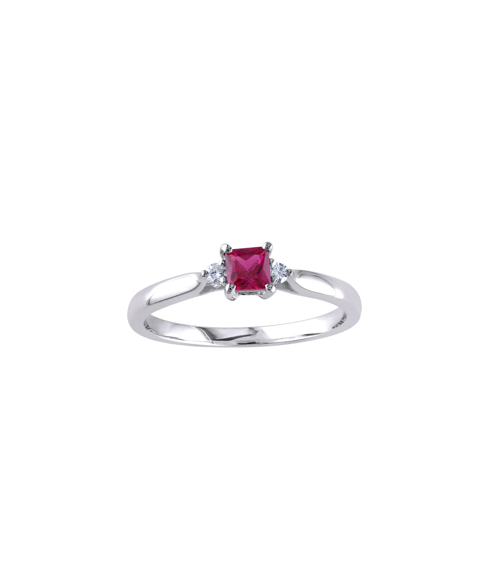 Sofia B Red Ruby & Diamond Princess Cut Ring In Newest Sparkling & Polished Lines Rings (Gallery 17 of 25)